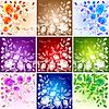 Векторный клипарт: Набор 9 цветочных фонов