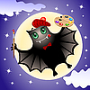 Vector clipart: Cute bat artist