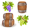 Vector clipart: Wooden barrels and grape