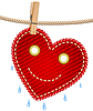 Vector clipart: Textile red heart on clothesline