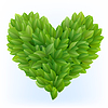 Vector clipart: Heart symbol in green leaves