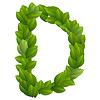 Buchstabe D der grünen Blätter Alphabet