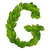 Buchstabe G des grünen Blättern Alphabet
