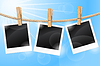 Vector clipart: Photos hanging on clothesline
