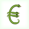 Vektor Cliparts: Snake Schriftart. Euro-Symbol