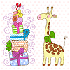 Vector clipart: Cute Giraffe with lot of gifts