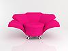 粉红色的扶手椅上的白色三维 | 光栅插图