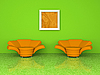 Green interior with two orange armchairs 3d rendering | Stock Illustration