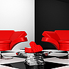 Black-and-white interior with two red armchair with hearts | Stock Illustration