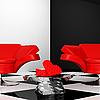 Negro y blanco interior con dos sillón rojo con corazones | Ilustración