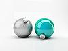 Photo 300 DPI: Two turquoise Christmas balls