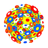 Vector clipart: Multi-colored flowers as sphere