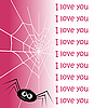 Vector clipart: Web in the form of heart and spider