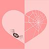 Векторный клипарт: Паутина в форме сердца и паук