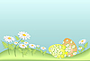 Vector clipart: easter eggs among grass and flowers