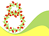 Vector clipart: Ornate red tulips as number eight