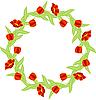 Векторный клипарт: рамка с красными тюльпанами