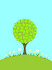 Vector clipart: a tree and camomiles on the green lawn