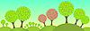 Векторный клипарт: цветущие деревья в лесу