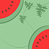 Vector clipart: Watermelon on green background