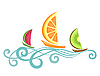 Vector clipart: Fruitlike boats floating on the waves
