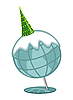 Decorated fir-tree on the globe