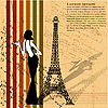 Vector clipart: retro grunge background with Eiffel tower