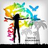 Векторный клипарт: Девушка на фоне разноцветных бабочек