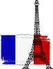 Vector clipart: eiffel tower and french flag