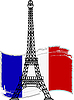 Eiffel tower and french flag | Stock Vector Graphics