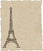Vector clipart: eiffel tower on old paper