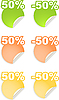 Vector clipart: stickers with 50 percent discount