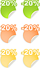 Stickers with 20 percent discount | Stock Vector Graphics