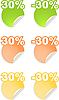 Vector clipart: stickers with 30 percent discount
