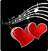 Vector clipart: music hearts