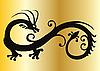 Векторный клипарт: Черный дракон на золото