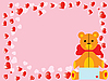 valentine`s teddy bear on pink