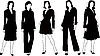 Векторный клипарт: sillhouettes коллекции женщина