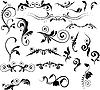 Vector clipart: Set of floral pinstripes