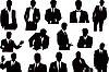 Векторный клипарт: sillhouettes сбор предпринимателей