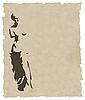 Векторный клипарт: Венера силуэт на старой бумаге