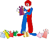 Vector clipart: The clown with gift