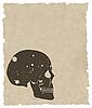 Векторный клипарт: коричневый гранж-череп на старой бумаге