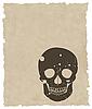 Векторный клипарт: коричневый гранж череп на старой бумаге