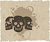 Векторный клипарт: коричневый череп гранж на старой бумаге