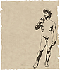 sculpture david on old paper