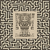 mayan and inca tribal symbols on maze