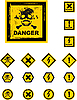 Vector clipart: danger grunge buttons