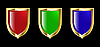 set of red, blue and green shields