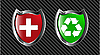 Vector clipart: set red and green shield
